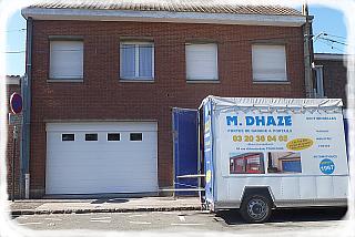 Intervention sur portes de garage chez un client des établissements M.Dhaze.